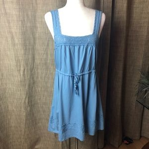 Top Shop Size 8 Blue Drawstring Lace Dress